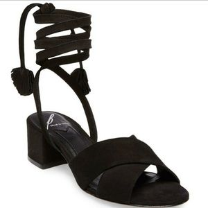 Brian Atwood Black Tie-up Suede Sandals